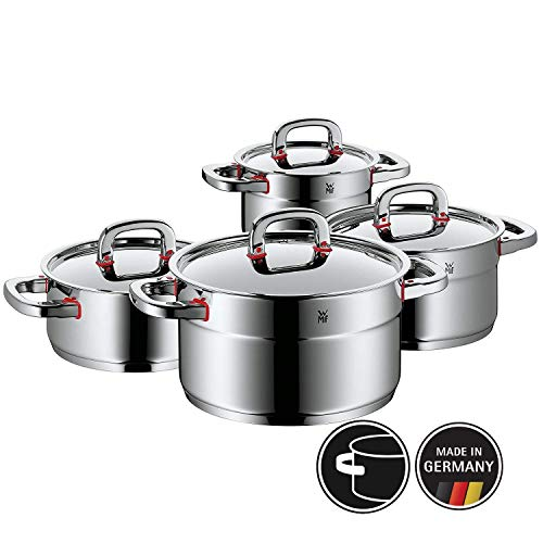 WMF Premium One Topfset, 4-teilig, Metalldeckel mit Dampföffnung, Kochtopf, Cromargan Edelstahl poliert, Induktion, Kaltgriffe, Innenskalierung