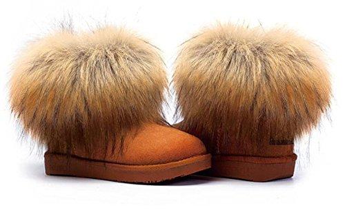 Wealsex Bottes Fourrées Doublée Chaleureux Botte De Neige Cheville Classique Mode Uni Couleur Pur Plate Chaussure De Coton Chaussures d'hiver Grande Taille 39 40 Femme Marron