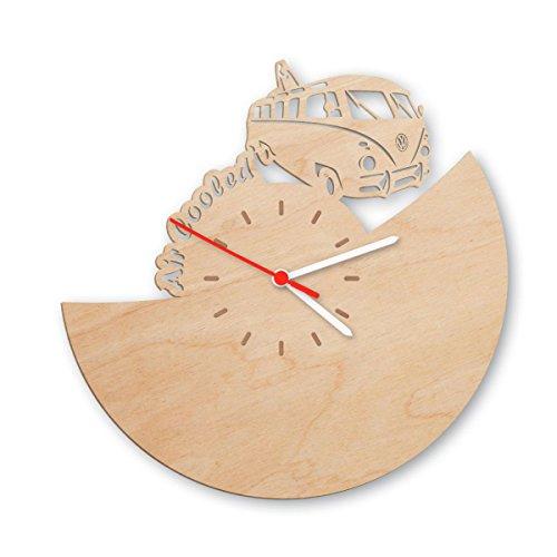 Bulli Wanduhr aus Birken-Holz Made in Germany | Design Uhr aus Echtholz | Wand-Deko aus Birke | Originelle Wand-Uhr | Moderne Wand-Uhr im Skyline Design | Wand-Dekoration aus...