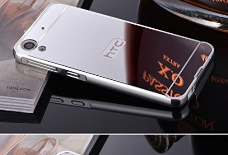 AEMA (TM) Luxury Metal Bumper + Acrylic Mirror Back Cover Case For HTC DESIRE 628 SILVER
