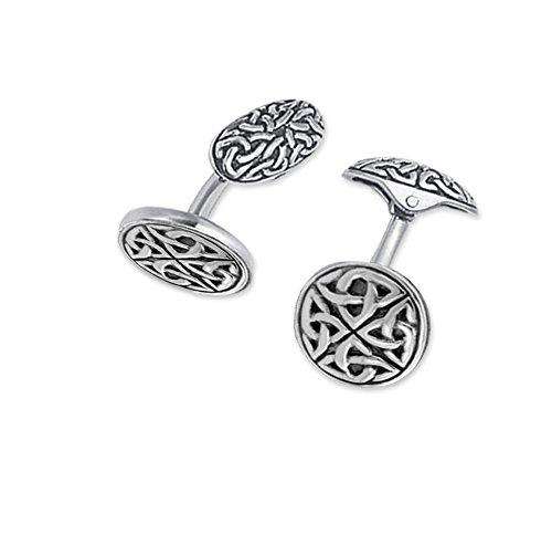 Boutons de manchette en argent fin avec des Ronds Celtic-Celtique ainsi -double-face arrière-Boîte cadeau en similicuir