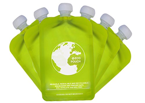 Reusable baby Food Pouch 6 x 150ml Eazy Squeezy BPA & PVC free No Leak Squeeze Bag Design – Easy Fill & Clean – for Weaning, Travel, Pureed Fruit, Organic & Homemade Baby Food, Toddlers & Kids 41LDCbU 2Bz3L
