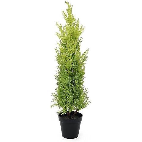 Ciprés artificial en tiesto decorativo, 75 cm – resistente a la intemperie - planta artificial / árbol sintético - artplants