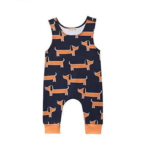 CIPOGL Babykleidung Säuglingsbaby Jungen Mädchen Süß Dinosaurier Drucken Ärmellos Strampler Jumpsuits Sommer Baby Spielanzug Bodys Einteiler Overall Baby Kleidung (Hund, 3-6M)