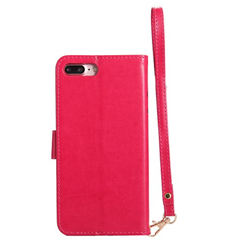 BONROY® Coque PU Cuir pour iPhone 7 Plus, Protectrice Housse étui en Cuir pour iPhone 7 Plus with Lanyard, Fille et le chat Noctilucent Etui Pochette Portable Flip Wallet Housse Bookstyle Case Porte C Red Rose