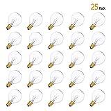25 Pack Tungsten Ampoules à incandescence ,Tomshine G40 Globe Bulb Filament, 7W AC230V ,E12 Base, étanche IP44, 2100k Angle de faisceau à 360°(Blanc Chaud)