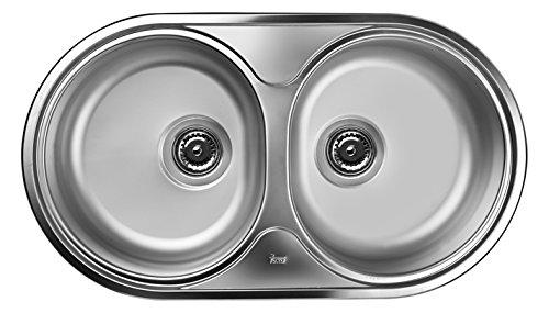 Teka cucina lavandino lavello/bacino lavello da incasso in acciaio inox con due piatti, Dr–782C