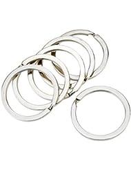 Valoxin(TM) EDC herramienta 6Pcs 32mm tono Plata llaveros kits del sostenedor del metal del recorrido planas anillos partidos Llaveros de acero de manganeso Llaveros Keys