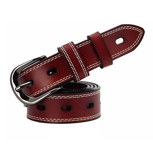 Easy go shopping cintura da donna in pelle con cinturino da donna per donna con fibbia classica con fibbia in lega cintura (colore : dark brown)