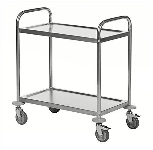 Edelstahl-Servierwagen mit 2 Böden, 100kg, 685 x 380mm, ideal für Großküchen, Kantinen, Restaurants, Kitas oder Pflegeheime