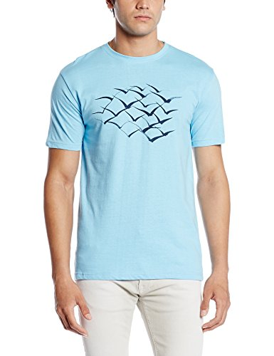 Cloth Theory Men's T-Shirt (CTABSBIRDS_Large_Sky Blue)