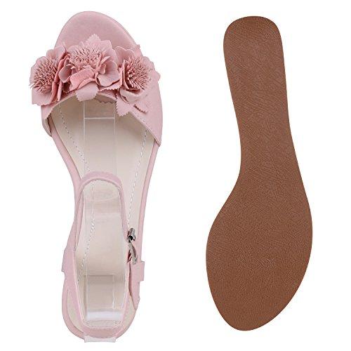 Damen Komfort-Sandalen   Lack-Optik Glitzer Metallic   Sommerschuhe   Plateau Sandalen Sandaletten   Kork Blumen Glitzer Rosa Blumen