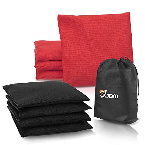 JBM Kornlochbeutel (8 Stück) wetterfeste Kornlochbeutel mit recycelten Kunststoff-Pellets zum Werfen von Maislöchern, inkl. Tragetasche, rot/schwarz, 14 oz/Pack of 8