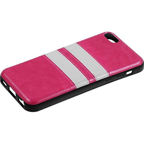 Coque en Silicone pour Apple iPhone 5c - Stripes noir - Cover PhoneNatic Cubierta + films de protection rose chaud