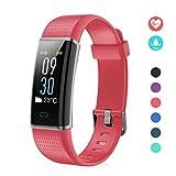 EFO SHM Fitness Tracker mit Pulsmesser, Schrittzähler Uhr Fitness Armband Wasserdicht Schwimmen Aktivitätstracker Schlafanalyse Kalorienzähler Anruf/SMS Kompatibel mit iPhone und Android(Rot)