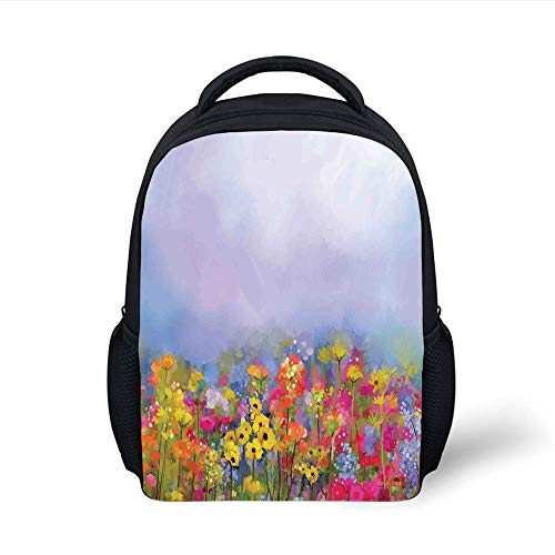 Kids School Backpack Flower,Blooming Tulips with Green Leaves in The Botanical Garden with Paint Effect Image,Multicolor Plain Bookbag Travel Daypack -