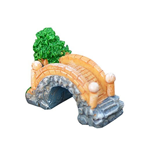 Cupcinu Arch Bridge Miniatur Fairy Garden Baum grün Colorful Bridge Statue DIY Puppenhaus Blumentopf Garten Sukkulenten Ornaments Home Decor (orange), Kunstharz, grau, 6x4cm