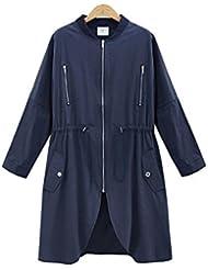 ZQQ Cazadora de capa de largos sueltos de la moda de otoño/invierno desgaste de mujeres estilo occidental slim de manga larga azul XL , navy blue , xl