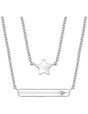 s.Oliver Kinder-Kette mit Anhänger 38+2 cm Stern Mädchen 925 Silber rhodiniert Zirkonia weiß 40 cm 2015020