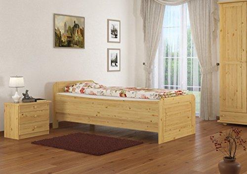 Seniorenbett extra hoch 90x200 Einzelbett Holzbett Gästebett Massivholz Kiefer Bett 60.42-09 oR