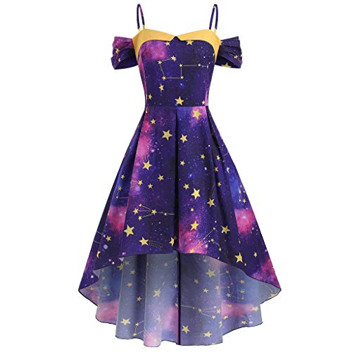 QinMM Ein Wort Kragen Star Galaxy plus Größe Swing 1950 Vintage Party Cocktail Kleidung