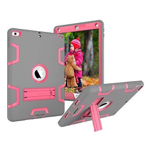 iPad 9,7Fall 2018/2017, dooge Drei Schichten PC & Silikon Armor Defender Heavy Duty Dämpfung Robuste Hybrid Full Body Schutzhülle mit Kickstand für Apple iPad 24,6cm 2017/2018Release, Grey+Hotpink (Cover 3 Ipad Speck)