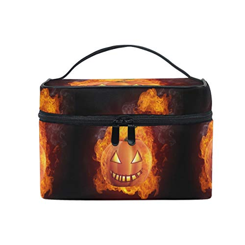 Emoya Kosmetiktasche Halloween Kürbis Feuer Reise Make-up Tasche Pinsel Tasche Kulturbeutel für Frauen -