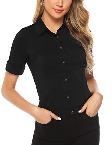 Abollria Damen Bluse Basic Stretch Hemdbluse Elegante 3/4 Arm Business Blusen Button Down fürs Büro,Schwarz,S