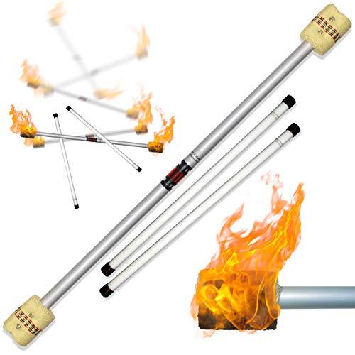 Profi Feuerdevilstick (Fire Devilstick) Feuer Devilsticks/Docht: 65mm Kevlar - inkl. Holz Handstäbe mit 2 mm Super-Grip Silikon! Flamme Devil stick Jonglieren Devilsticks für Anfänger und Profis. -