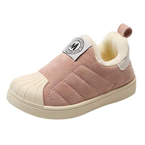 HDUFGJ Kinder Baby Mädchen Jungen Nähen Winter Warme Wildleder Weiche Freizeitschuhe Baumwollschuhe Schuhe Sportschuhe Turnschuhe Laufschuhe22 EU(Rosa)