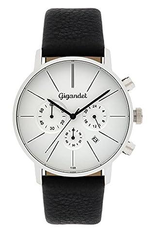 Gigandet Quarz Herren-Armbanduhr Minimalism Chronograph Uhr Datum Analog Lederarmband Silber Schwarz G32-001