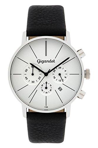 Gigandet G32–001- Armbanduhr für Herren, Lederband, Farbe: schwarz