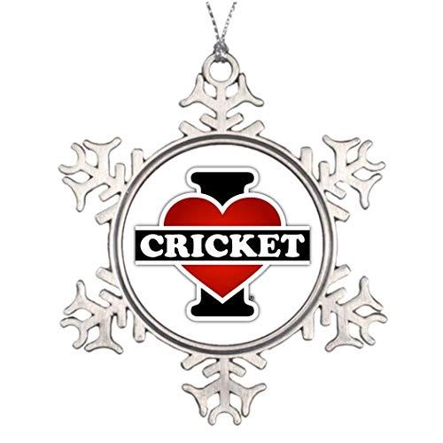 Monsety I Love Cricket Weihnachts-Schneeflocken-Ornament, Geschenk für Frauen Herren Ehemann Frau Freunde Gils Jungen -