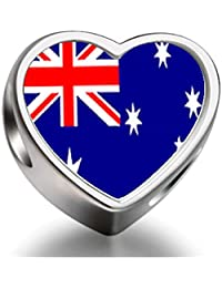 925 Sterling Silver Charms Beads Australia flag Heart Photo Charm Beads Fit Pandora Chamilia Biagi beads Charms Bracelet