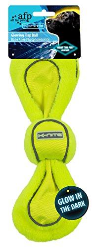K-Nite Glowing Flap Ball neongelbes Hundespielzeug fluoreszierende Nähte u. Logo