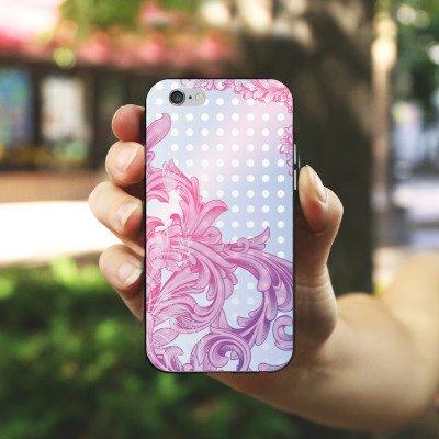 Apple iPhone X Silikon Hülle Case Schutzhülle Punkte Muster Floral Silikon Case schwarz / weiß