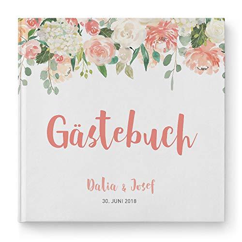 DeinWeddingshop Gästebuch Hochzeit - personalisiert - Hochzeitsgästebuch, Hardcover 21x21 cm (Inhalt mit weißen Seiten, Watercolor Floral)