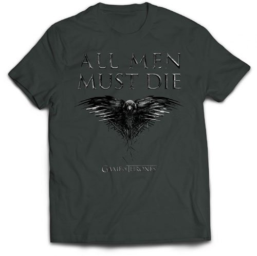 Game of Thrones All Men Must Die T-Shirt, Gris Charbon, X-Large Homme