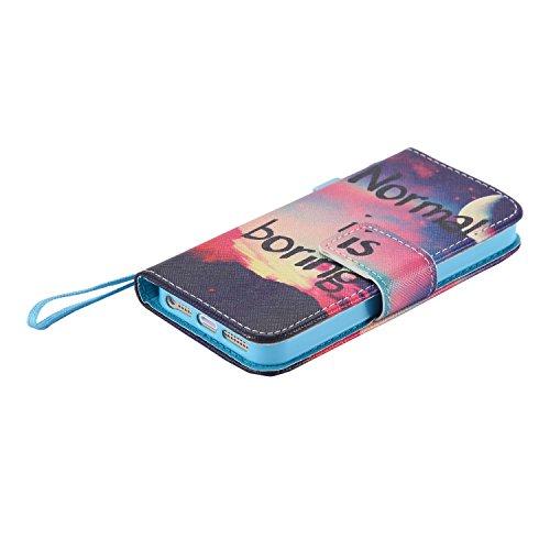 iPhone SE/5S/5Custodia, Tebeyy Custodia Flip a portafoglio in pelle, custodia con cavalletto [Premium] [Card Slot] [chiusura magnetica], colorato con disegno cute animale Motivo floreale PU Custodia  Horse