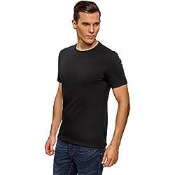 oodji Ultra Hombre Camiseta Básica (Pack de 3), Negro, ES 52-54 / L