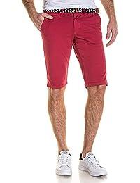 BLZ jeans - Bermuda homme chino rouge avec ceinture
