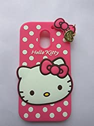 Qzey Premium soft Cute Hello Kitty Back Case Cover For Motorola Moto E3 Power - Pink