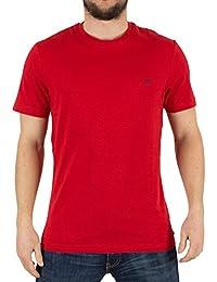 Original Penguin Homme Pinpoint Jersey Logo T-Shirt, Rouge