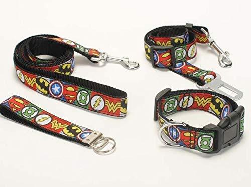 (Shoppy Star Hundeleine, Hundehalsband, Sicherheitsgürtel, Schlüsselanhänger, 2,5 cm Avenger Logo, bedrucktes Band, 4 Stück)