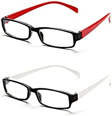 Red & White Rectangle Unisex spectacles eye wear frame - Combo Of 2