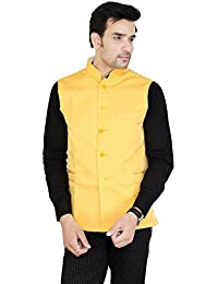 4f6a855469 Oshano Yellow Blended Cotton Printed Waist Coat Nehru Jacket for Men Party  Ceremony Marriage