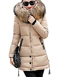 64a9b2efafc7 Magike Manteau Chaud Doudoune Femme Veste Capuche Fourrure Faux Long Hiver  Jacket Blouson Causal Marron