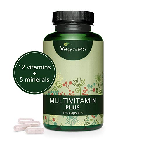 VEGAVERO® Multivitamin Kapseln Hochdosiert | Alle wichtigen A-Z Vitamine und Mineralstoffe | Ohne Zusatzstoffe | Energie - Immunsystem - Haut - Haare* | 120 Kapseln