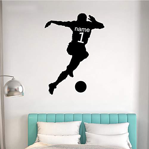 GJQFJBS Tanzen Fußball Wandaufkleber Set Kinder Wohnzimmer selbstklebende PVC Tapete Heimtextilien Zubehör Schwarz 58x79cm