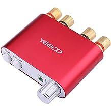 Yeeco De Alta Fidelidad Mini Bluetooth Amplificador 50W + 50W DC 9-24V Doble Canal Inalámbrico Bluetooth Estéreo Audio Receptor Poder Amperio Ampli Tablero con El Tipo de Euros Fuente de Alimentación Adaptador para Casa Sonar Audio Sistema Computadora Ordenador Portátil (Rojo)